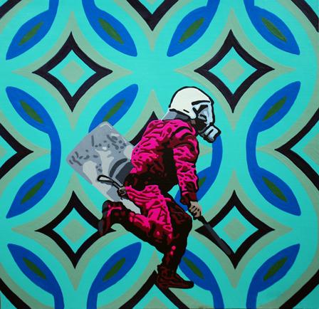 Θεοδώρα Μαλάμου «The go-go boots» Ακρυλικο σε χαρτι 30 x 30 cm